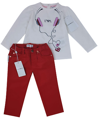NEW Emporio Armani Junior RRP £149 Kids Baby Girls Jeans Top AGE 12 MONTHS A727