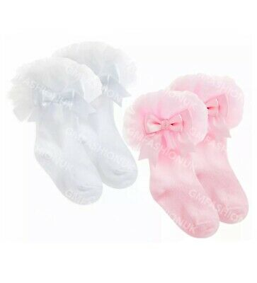 Baby Girls Lace Stocking Tutu Frill Socks Cute Bow Spanish Frilly Cotton Rich