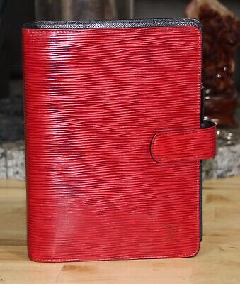 Mens LOUIS VUITTON Epi Agenda MM Day Planner Cover Rouge Red LV Auth Vintage