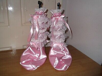 Adult Babys~Sissy~Maids~Unisex~Cd/Tv Satin & Lace Trim Humiliation Booties
