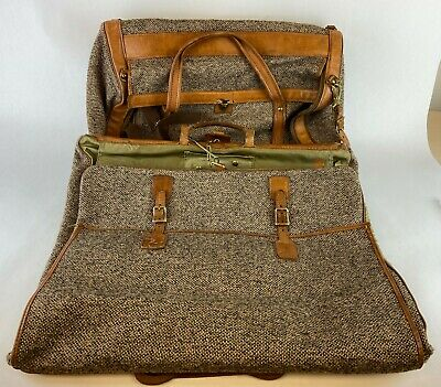 Hartmann Vintage Tweed & Leather Duffel Travel Luggage Bag Carry On w/ Hardware