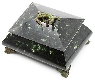 European 1910 Antique Green Marble Box With A Dragon Great Look
