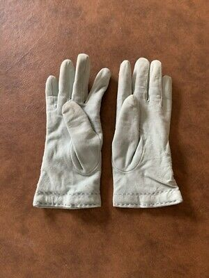 Vintage Leather/Cashmere lined ladies gloves - M - Sage or Mint green