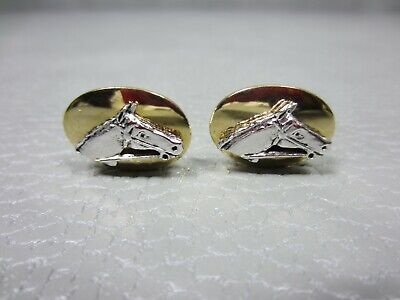 Vintage Equestrian Horse Head Yellow Gold Plated Cuff Links