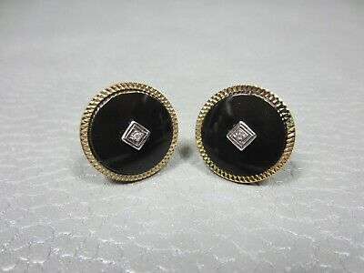 Vintage Onyx with Faux Diamond Yellow Gold Plated Cuff Links