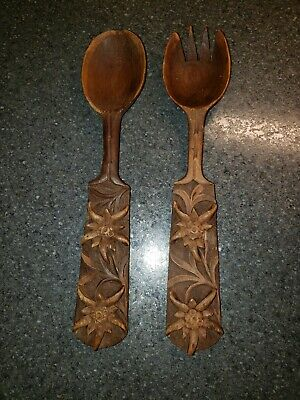 VTG. Black Forest Swiss Hand Carved Wooden Salad Spoon & Fork Edelweiss Flower