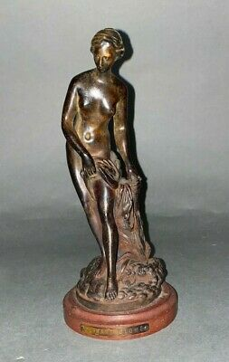 PAUL-ALBERT BARTHOLOME Small Antique French Bronze Statue of Nude Female Bather