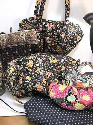 Large Vera Bradley LOT for Craft or Repair TAVERN on the Green Duffel JAVA blue