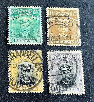 British South-Africa Company BSAC 1913-1924 - 4 used stamps with 6 P. - Rhodesia