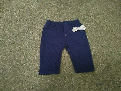 BNWT Jean Bourget funky designer blue purple trousers bow detail 6 months
