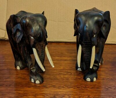 Pair of vintage elephant statues carved wood