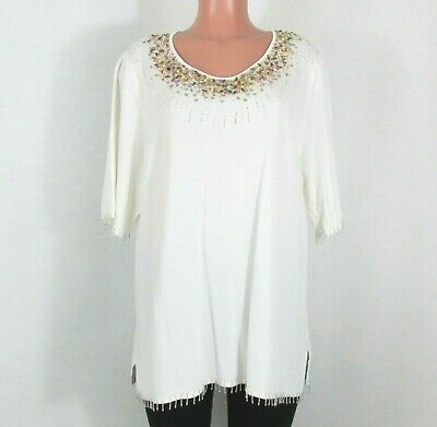 Alain Weiz Size 22 White Knit Top Beautiful Multicolored Beading Short Sleeves