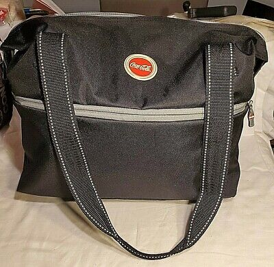 """Coca Cola Heavy Canvas Black Expandable Doctor Style Tote Bag 15"""" x 6"""" x 13""""&18"""""""