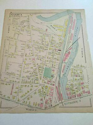 Original 1892 New Hampshire Map 15x17 Nashua