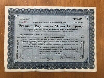 Timmins Ontario - Premier Paymaster Mines Company 1920 Stock Certificate