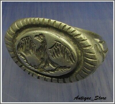 ** AQUILA - LEGIONARY EAGLE ** Ancient Silver Legionary Roman Ring *HUGE 22.7g*