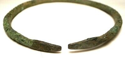 Ancient Near Eastern bronze bracelet with flat snake heads, I mil. B.C., 8 cm d