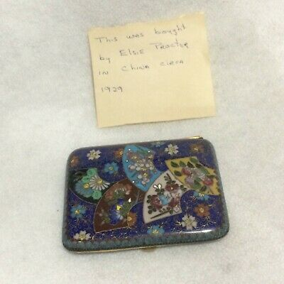 Antique Early 20th C. Chinese Enamel/Cloisonne Cigarette Case/Box Lovely Asian