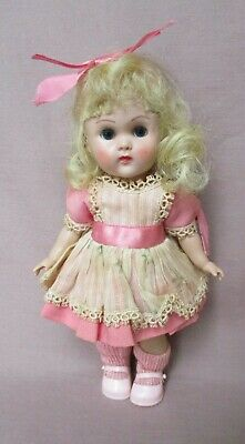 Vintage 1950's Vogue Ginny MLW Doll Blond Blue Eyes Tagged Dress
