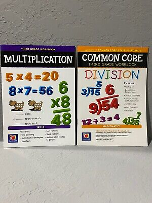 NEW 3rd Grade Lot of 2 Educational Workbooks: Multiplication & Division