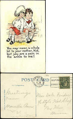 YOU ARE A PAIN IN THE ANKLE TO ME cute boy girl 1924 DPO ST PAUL COMMERCIAL STA