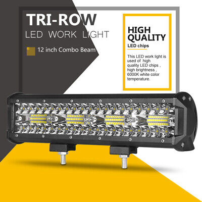 12inch Tri-Row LED Work Light Bar 240W Spot Flood Driving ATV 4X4 Offroad Lamp