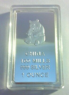 """Chinese """"Panda"""" 999 Fine Silver Layered 1 Troy Ounce Ingot, Limited to 500"""