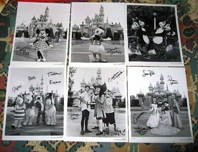 6qty Disney B&W Autographed Character Photos Princess Pooh Snow White Minnie