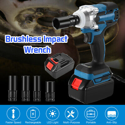 "21V Lithium Ion Cordless Impact Wrench Li-ion 1/2"" Drive Ratchet Rattle Nut Gun"