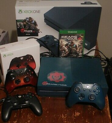 Xbox One Gears of War 4 Console w/ box, game, 2 wireless, &1 wired controller!