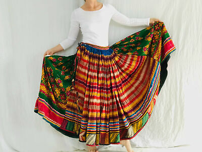 Vintage Rabari Skirt. Hand Embroidered. Silk & Cotton