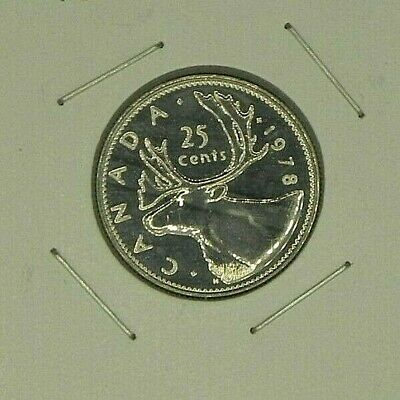 1978 UNC Canadian Canada Quarter 25 Twenty Five Cent Caribou Elizabeth II Small