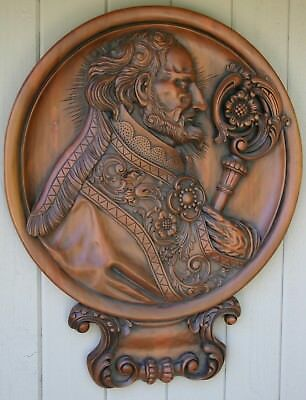 FOLK ART Hand Carved Mahogany Wall Library Decor Plaque MediciInspired Real Wood