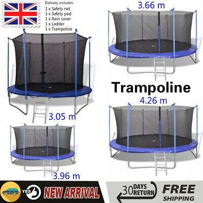 10/12/14ft Large Trampoline Internal Safety Net Enclosure Rain Cover Ladder KIds