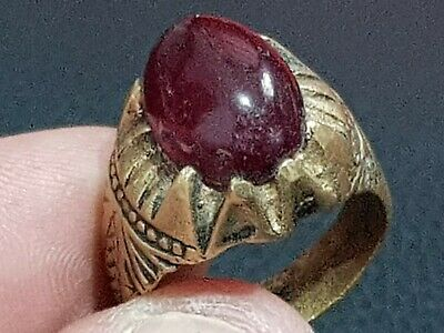 Exeptional Ancient Bronze Ring With Stunning Rare Stone 8,4 Gr 22 Mm