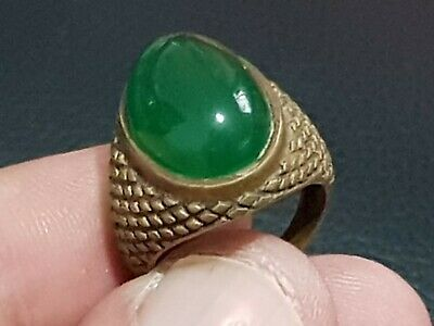 Superb Ancient Bronze Ring With Rare Large Stone 81 Gr 22 Mm