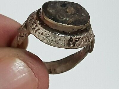 Exeptional Very Rare Ancient Roman Silver Ring Seal Intaglio 6,4 Gr 20 Mm
