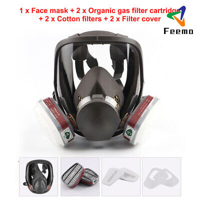 7 in 1 Full Face Chemical Spray Painting Respirator Vapour 6800 Gas Ventilator