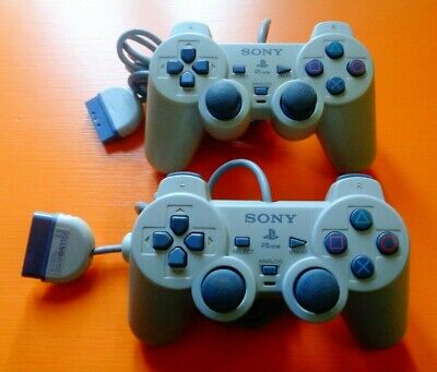 2 X PS1 Sony Dual Shock 2 Official Wired Original Playstation  Controllers Grey