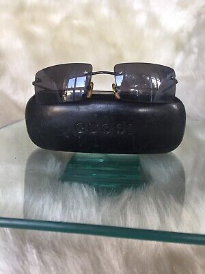 Gucci black rimless unisex sunglasses,metal frame
