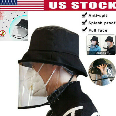 Fisherman Cap+Protective Clear Cover Cap Saliva-proof Dustproof Sun Visor Hat US