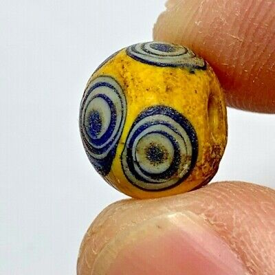 MUSEUM QUALITY, EXTREMELY RARE PHOENICIAN GLASS COLOURED BEAD/EYES 2.6gr 12mm