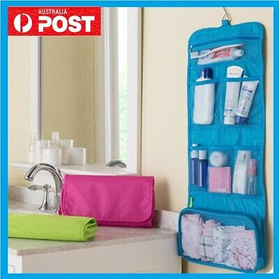 Travel Cosmetic Storage MakeUp Bag Folding Toiletry Organizer Hanging Pouch HQ