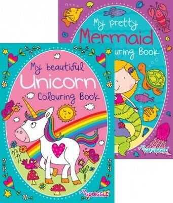 2 x Girls Puzzle Activity Colouring Books A4 Kids UNICORN & MERMAID