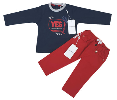 NEW Emporio Armani Junior RRP£149 Designer Kids Baby Jeans Top Set 9 MONTHS A805