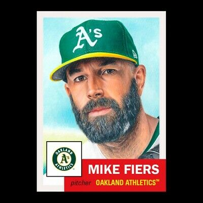 2020 Topps Living Set 298 Mike Fiers Oakland Athletics Great Art!