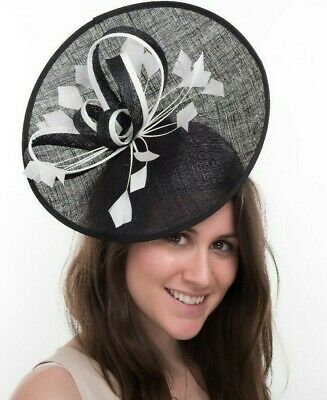 New Ladies Outdoor Occasion Wedding/Races Fascinator Style F3441 Black/Ivory