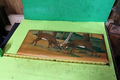 Vintage Wood Wooden Carved Carving Deer Buck Painting Art Plaque Log Cabin