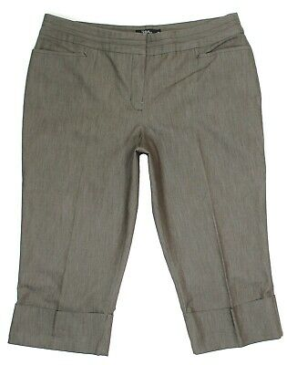 Tribal Pants Crop Size 16 Womens Brown Stretch Cuff Mid High Rise