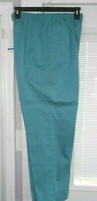 NWT ALFRED DUNNER SIZE 16 medium TEAL PANTS 31501 hem crease stretch